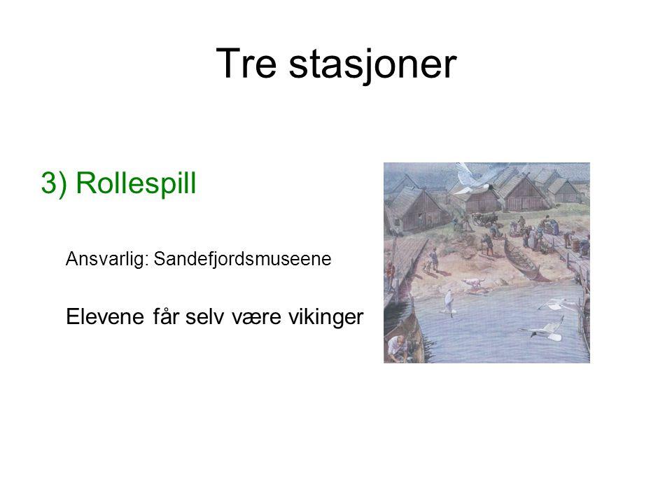Tre stasjoner 3) Rollespill Ansvarlig: Sandefjordsmuseene Elevene får selv være vikinger