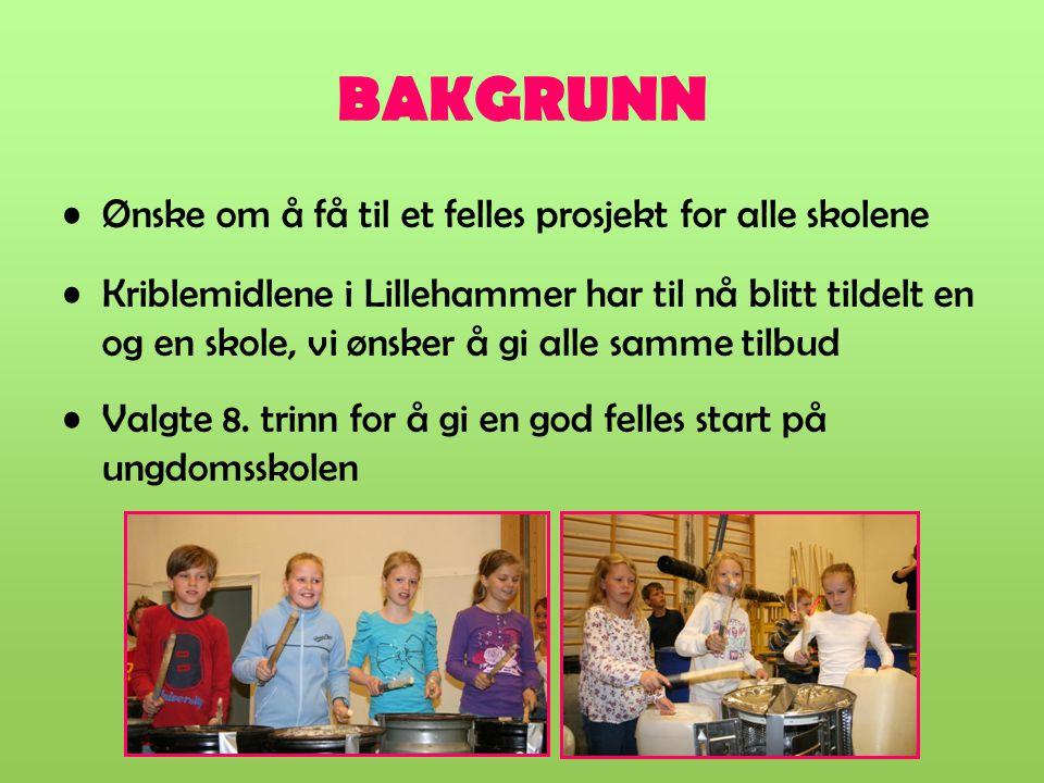 BAKGRUNN Ønske om å få til et felles prosjekt for alle skolene Kriblemidlene i Lillehammer har til nå blitt tildelt en og en skole, vi ønsker å gi all
