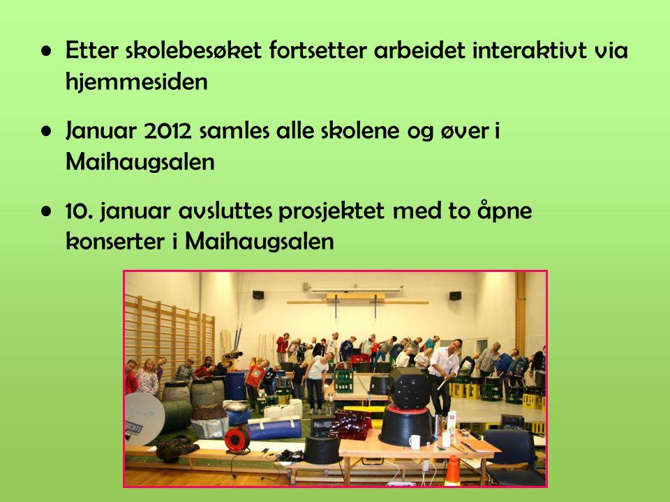 Etter skolebesøket fortsetter arbeidet interaktivt via hjemmesiden Januar 2012 samles alle skolene og øver i Maihaugsalen 10. januar avsluttes prosjek