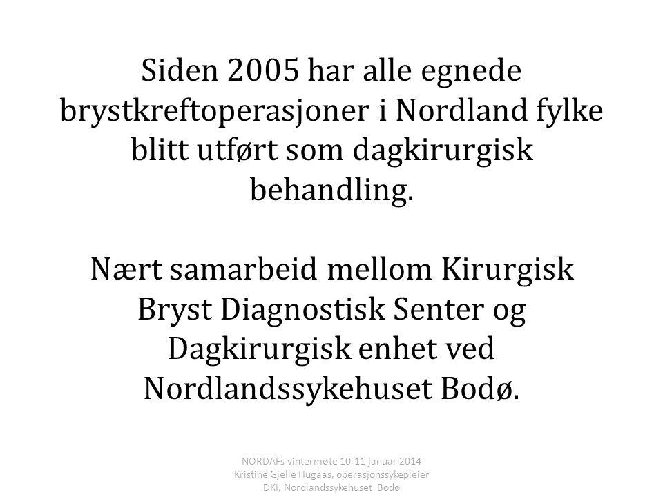 Siden 2005 har alle egnede brystkreftoperasjoner i Nordland fylke blitt utført som dagkirurgisk behandling. Nært samarbeid mellom Kirurgisk Bryst Diag