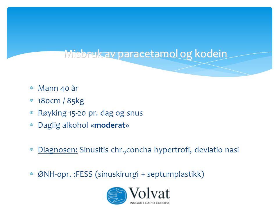  Mann 40 år  180cm / 85kg  Røyking 15-20 pr. dag og snus  Daglig alkohol «moderat»  Diagnosen: Sinusitis chr.,concha hypertrofi, deviatio nasi 