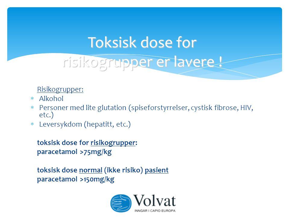 Risikogrupper:  Alkohol  Personer med lite glutation (spiseforstyrrelser, cystisk fibrose, HIV, etc.)  Leversykdom (hepatitt, etc.) toksisk dose fo