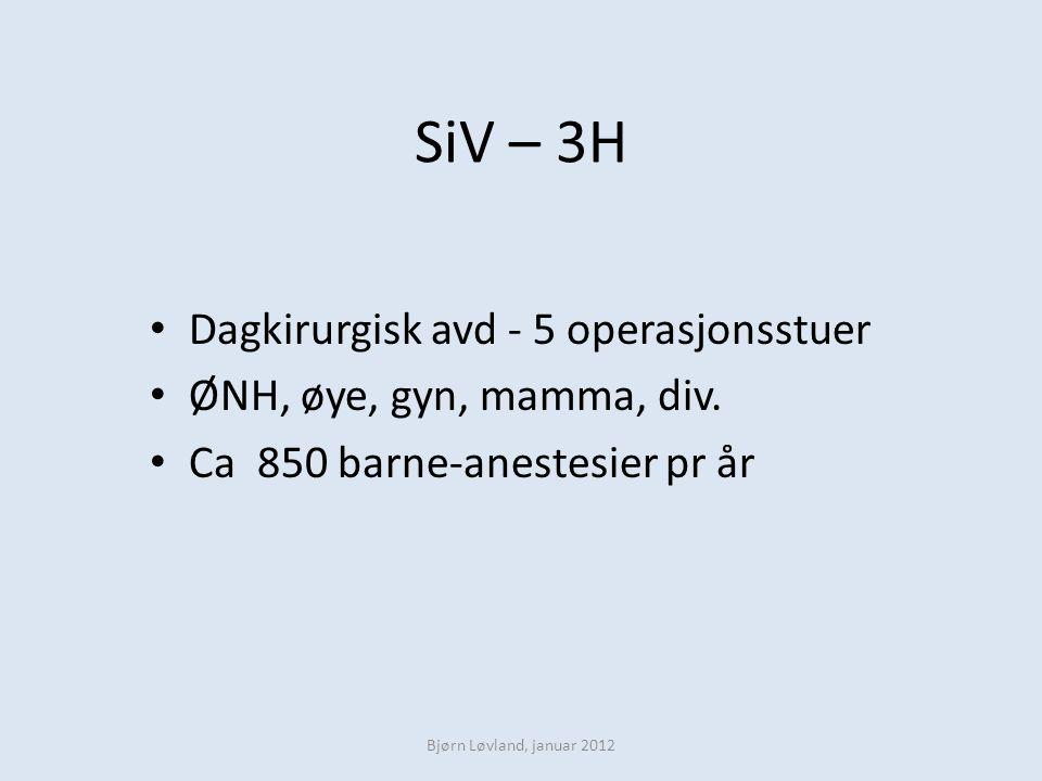 SiV – 3H Dagkirurgisk avd - 5 operasjonsstuer ØNH, øye, gyn, mamma, div. Ca 850 barne-anestesier pr år Bjørn Løvland, januar 2012