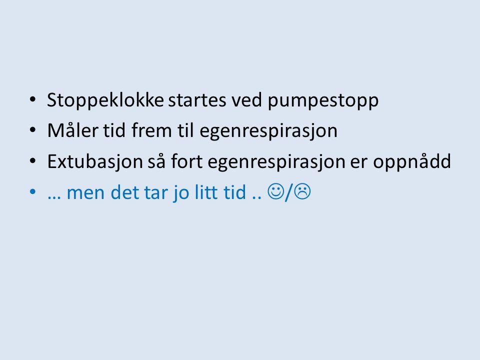 Stoppeklokke startes ved pumpestopp Måler tid frem til egenrespirasjon Extubasjon så fort egenrespirasjon er oppnådd … men det tar jo litt tid.. / 