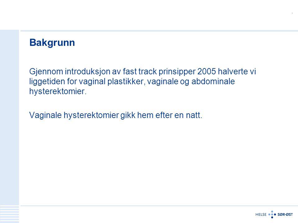 Bakgrunn Gjennom introduksjon av fast track prinsipper 2005 halverte vi liggetiden for vaginal plastikker, vaginale og abdominale hysterektomier.