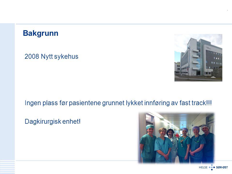 Bakgrunn 2008 Nytt sykehus Ingen plass før pasientene grunnet lykket innføring av fast track!!! Dagkirurgisk enhet!