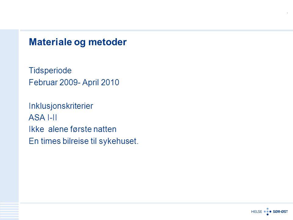 Materiale og metoder Tidsperiode Februar 2009- April 2010 Inklusjonskriterier ASA I-II Ikke alene første natten En times bilreise til sykehuset.