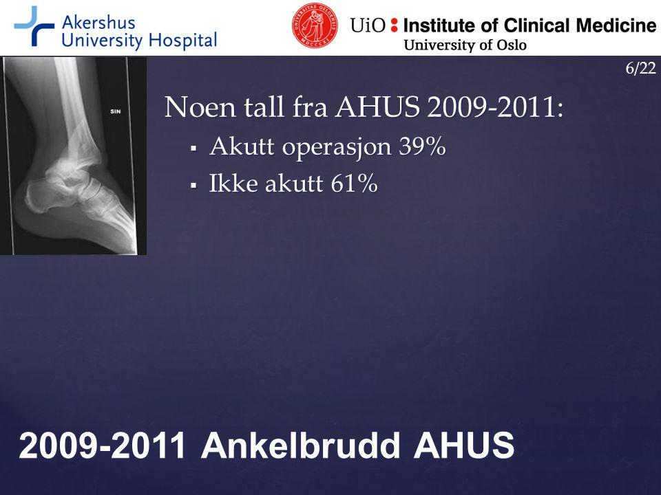 Noen tall fra AHUS 2009-2011:  Akutt operasjon 39%  Ikke akutt 61% 2009-2011 Ankelbrudd AHUS 6/22