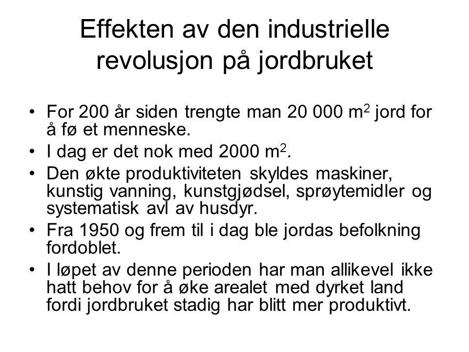 Effekten av den industrielle revolusjon på jordbruket For 200 år siden trengte man 20 000 m 2 jord for å fø et menneske. I dag er det nok med 2000 m 2