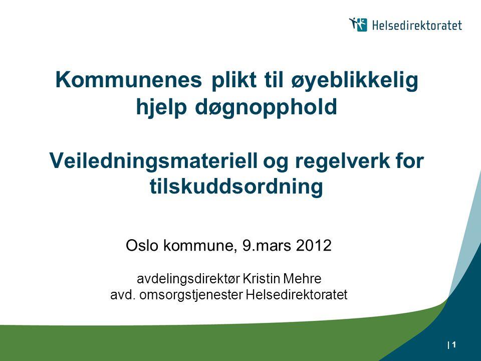 Kommunenes plikt til øyeblikkelig hjelp døgnopphold Veiledningsmateriell og regelverk for tilskuddsordning Oslo kommune, 9.mars 2012 avdelingsdirektør