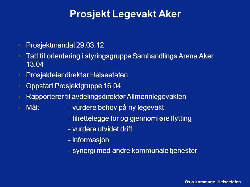 Oslo kommune, Helseetaten Prosjekt Legevakt Aker Prosjektmandat 29.03.12 Tatt til orientering i styringsgruppe Samhandlings Arena Aker 13.04 Prosjekte