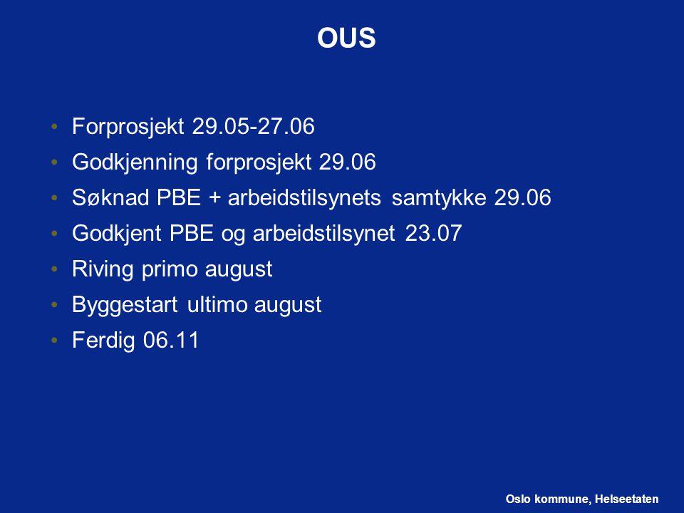 Oslo kommune, Helseetaten OUS Forprosjekt 29.05-27.06 Godkjenning forprosjekt 29.06 Søknad PBE + arbeidstilsynets samtykke 29.06 Godkjent PBE og arbei