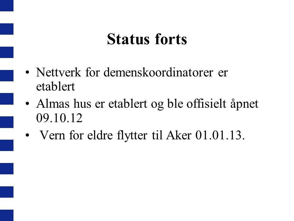 Status forts Nettverk for demenskoordinatorer er etablert Almas hus er etablert og ble offisielt åpnet 09.10.12 Vern for eldre flytter til Aker 01.01.