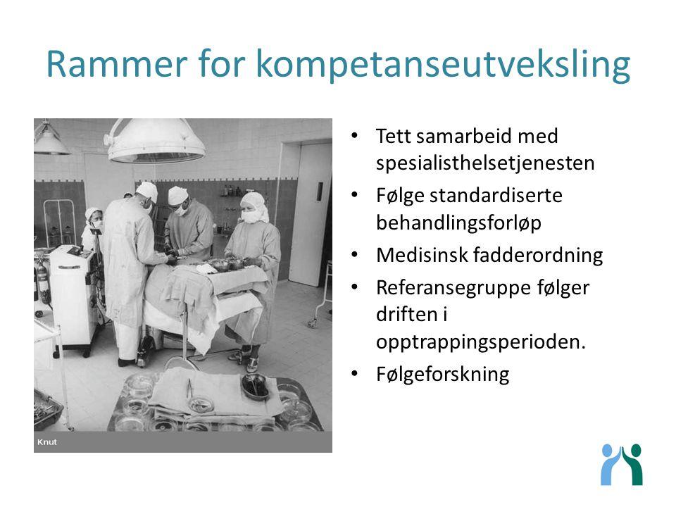 Rammer for kompetanseutveksling Tett samarbeid med spesialisthelsetjenesten Følge standardiserte behandlingsforløp Medisinsk fadderordning Referansegr