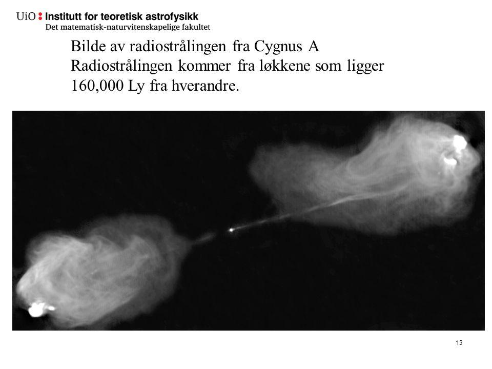 13 Bilde av radiostrålingen fra Cygnus A Radiostrålingen kommer fra løkkene som ligger 160,000 Ly fra hverandre.