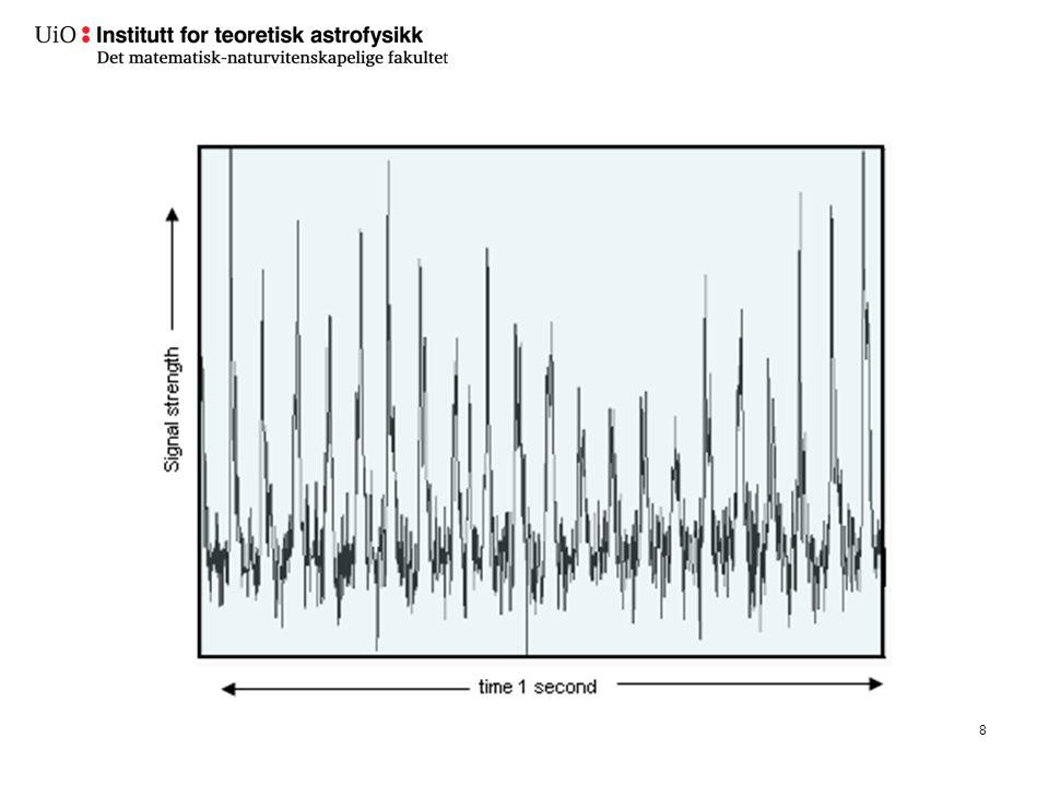 Forklaring.Så flere pulsarer, perioder i ms-s-området.