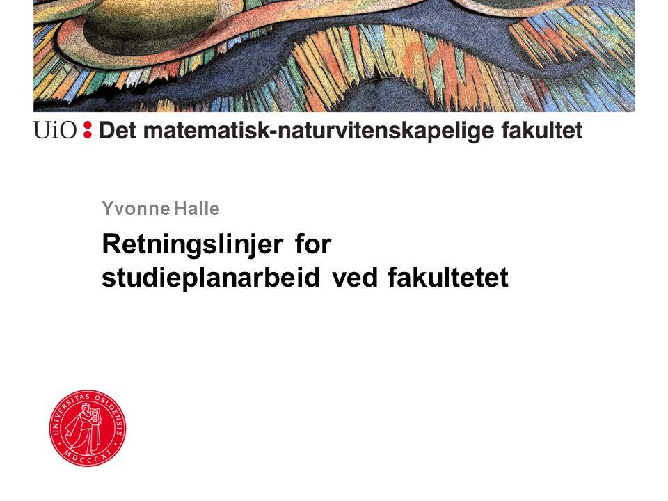 Yvonne Halle Retningslinjer for studieplanarbeid ved fakultetet