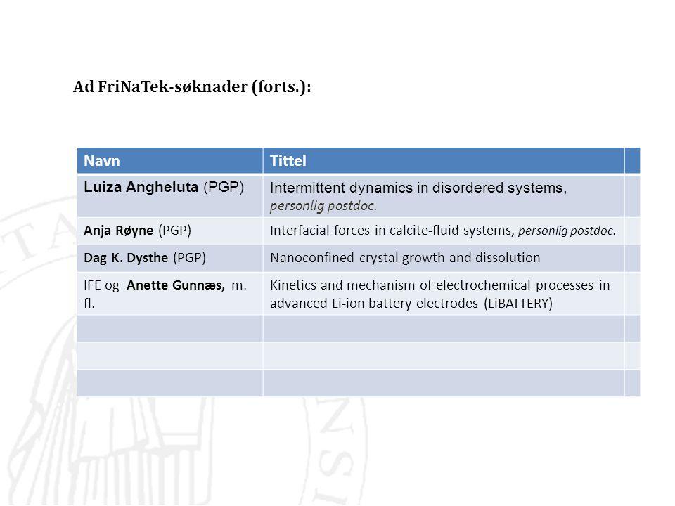 Ad FriNaTek-søknader (forts.): NavnTittel Luiza Angheluta (PGP)Intermittent dynamics in disordered systems, personlig postdoc. Anja Røyne (PGP)Interfa