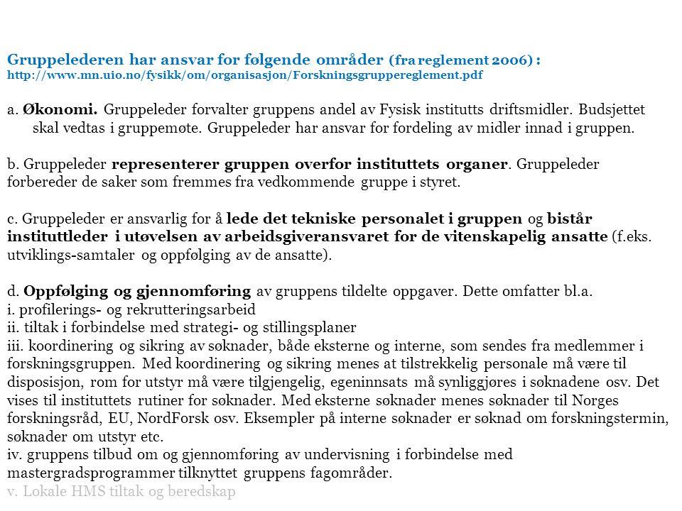 Gruppelederen har ansvar for følgende områder (fra reglement 2006) : http://www.mn.uio.no/fysikk/om/organisasjon/Forskningsgruppereglement.pdf a.