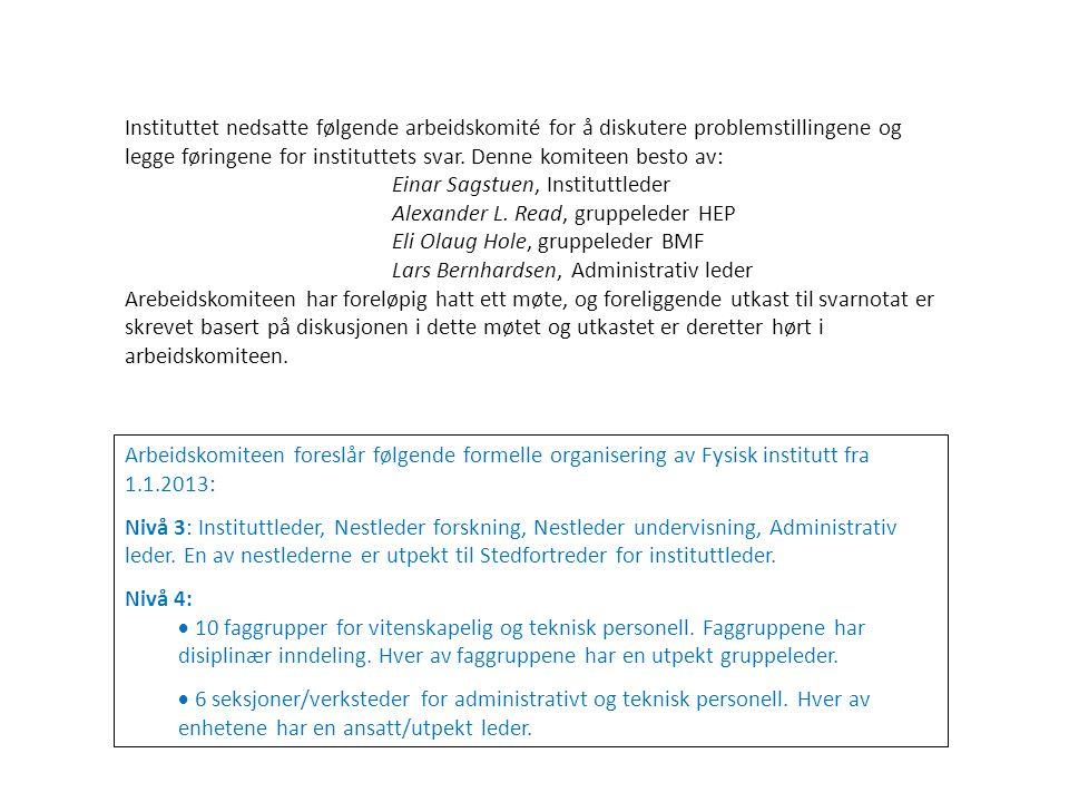 Arbeidskomiteen foreslår følgende formelle organisering av Fysisk institutt fra 1.1.2013: Nivå 3: Instituttleder, Nestleder forskning, Nestleder undervisning, Administrativ leder.