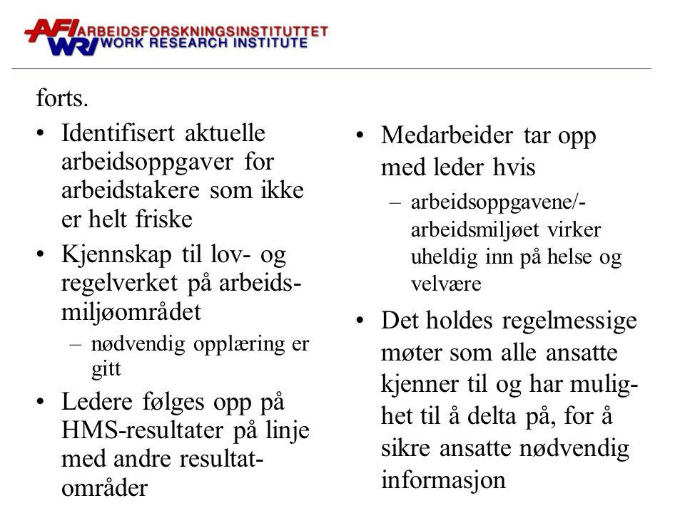 forts. Identifisert aktuelle arbeidsoppgaver for arbeidstakere som ikke er helt friske Kjennskap til lov- og regelverket på arbeids- miljøområdet –nød