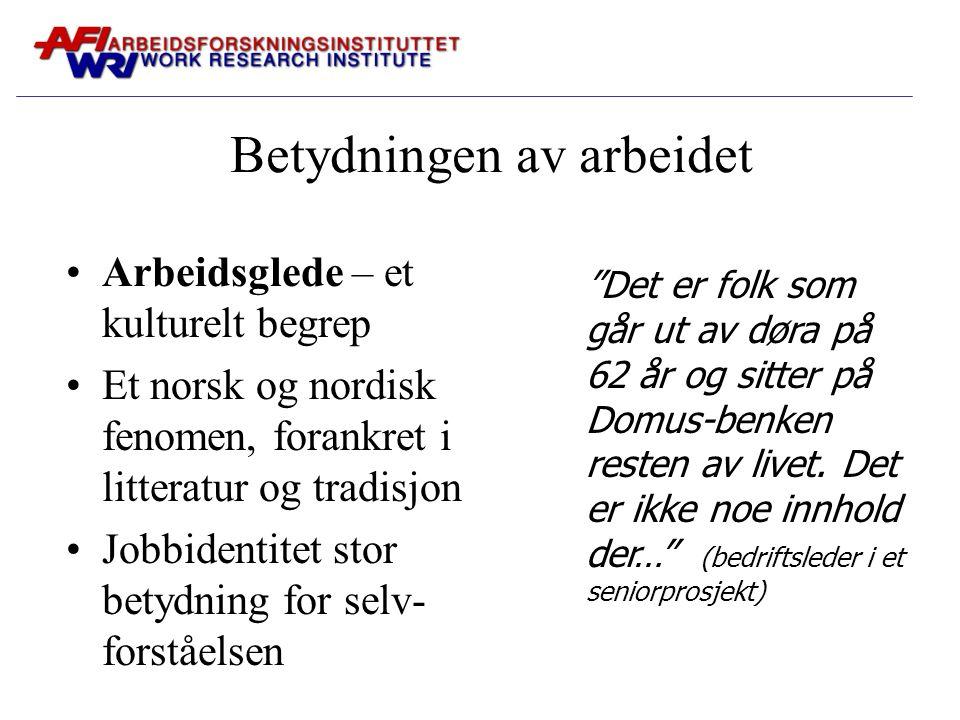 Betydningen av arbeidet Arbeidsglede – et kulturelt begrep Et norsk og nordisk fenomen, forankret i litteratur og tradisjon Jobbidentitet stor betydni