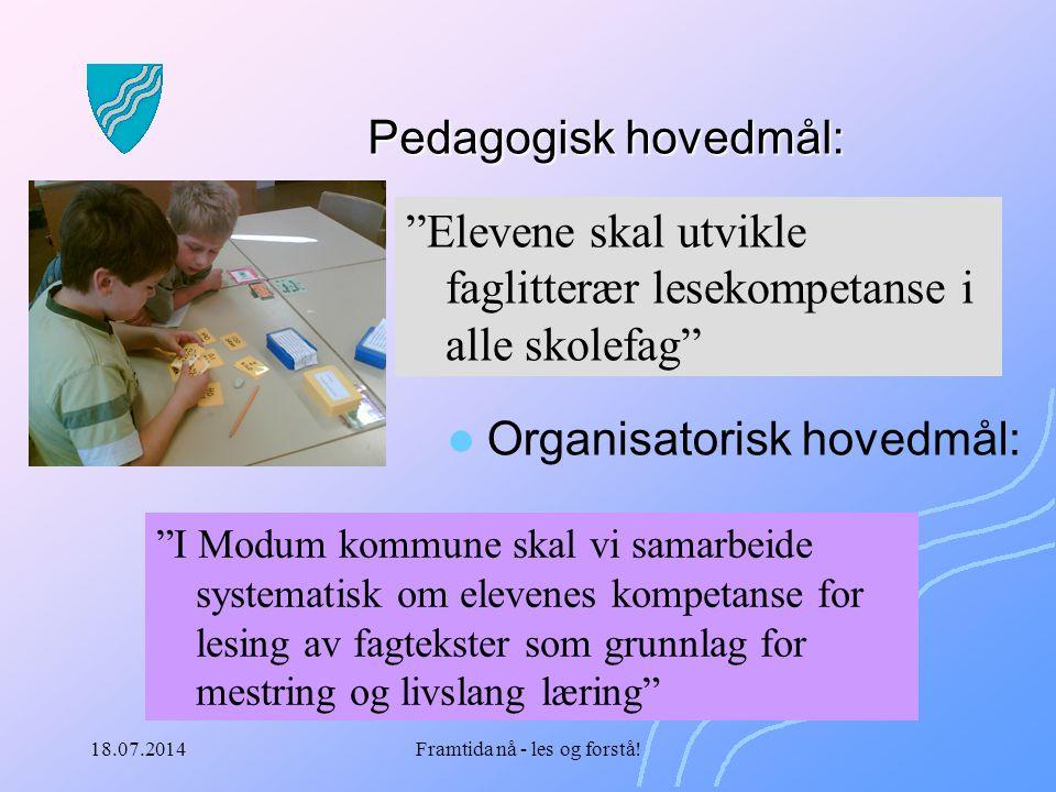"""18.07.2014Framtida nå - les og forstå! Pedagogisk hovedmål: """"Elevene skal utvikle faglitterær lesekompetanse i alle skolefag"""" Organisatorisk hovedmål:"""