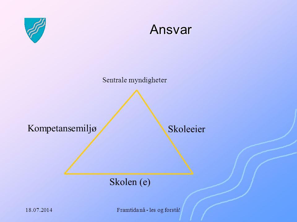 18.07.2014Framtida nå - les og forstå! Ansvar Skolen (e) Skoleeier Kompetansemiljø Sentrale myndigheter