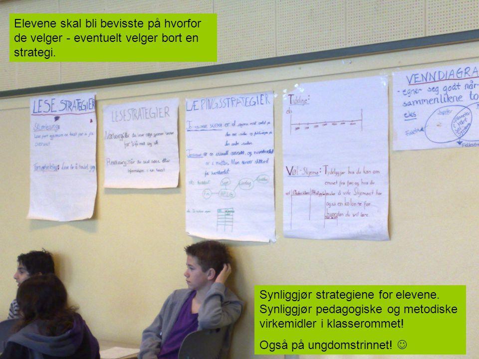 Synliggjør strategiene for elevene. Synliggjør pedagogiske og metodiske virkemidler i klasserommet! Også på ungdomstrinnet! Elevene skal bli bevisste