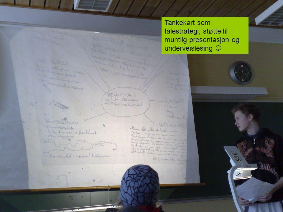 Tankekart som talestrategi, støtte til muntlig presentasjon og underveislesing