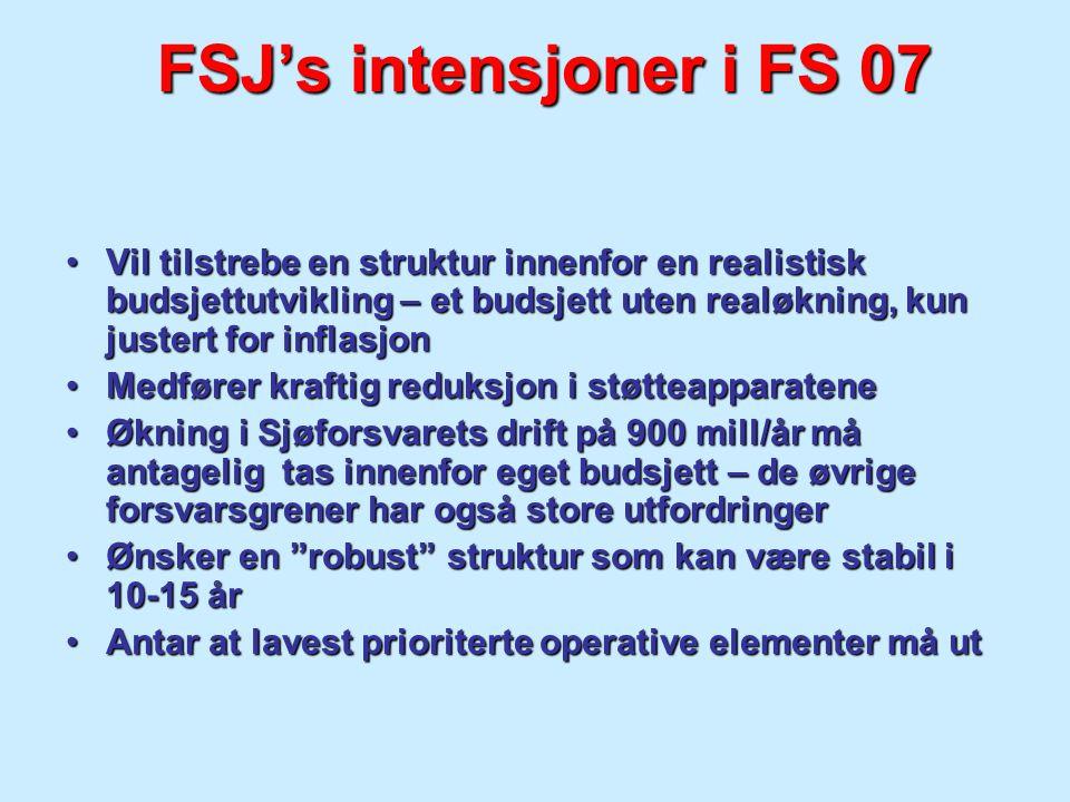 FSJ's intensjoner i FS 07 Vil tilstrebe en struktur innenfor en realistisk budsjettutvikling – et budsjett uten realøkning, kun justert for inflasjonV