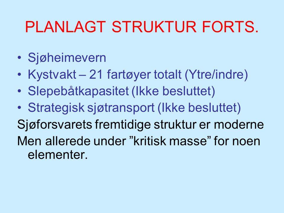 PLANLAGT STRUKTUR FORTS. Sjøheimevern Kystvakt – 21 fartøyer totalt (Ytre/indre) Slepebåtkapasitet (Ikke besluttet) Strategisk sjøtransport (Ikke besl