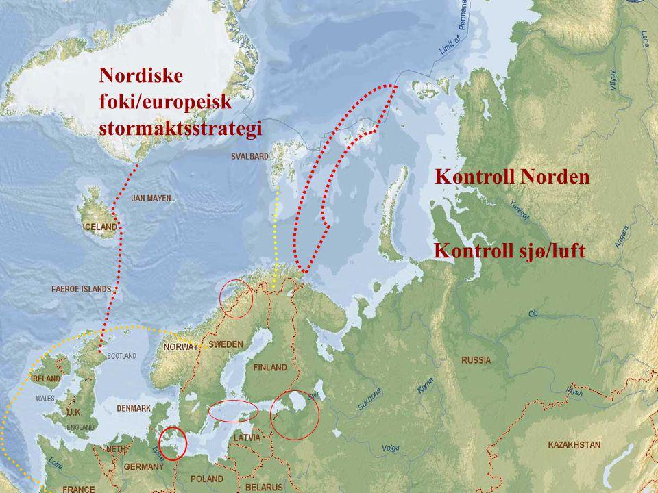 Nordiske foki/europeisk stormaktsstrategi Kontroll Norden Kontroll sjø/luft