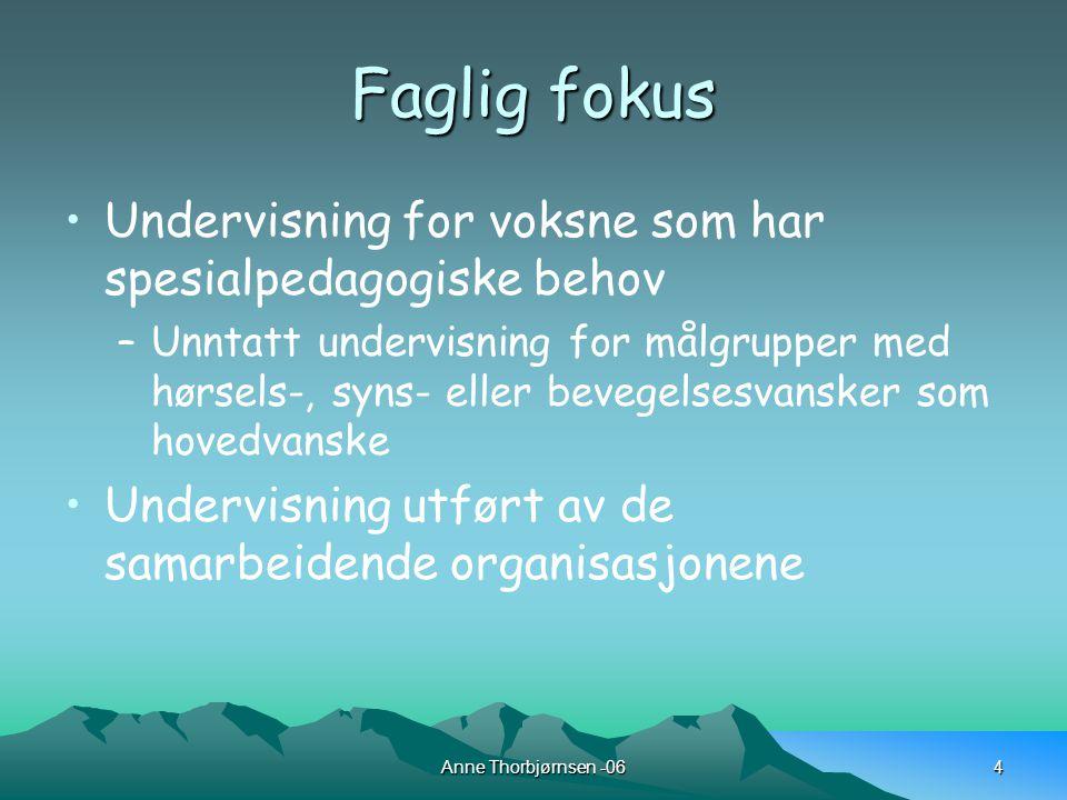 Anne Thorbjørnsen -064 Faglig fokus Undervisning for voksne som har spesialpedagogiske behov –Unntatt undervisning for målgrupper med hørsels-, syns- eller bevegelsesvansker som hovedvanske Undervisning utført av de samarbeidende organisasjonene