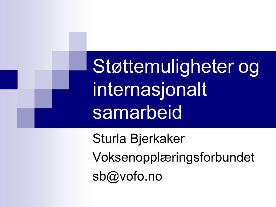 Støttemuligheter og internasjonalt samarbeid Sturla Bjerkaker Voksenopplæringsforbundet sb@vofo.no