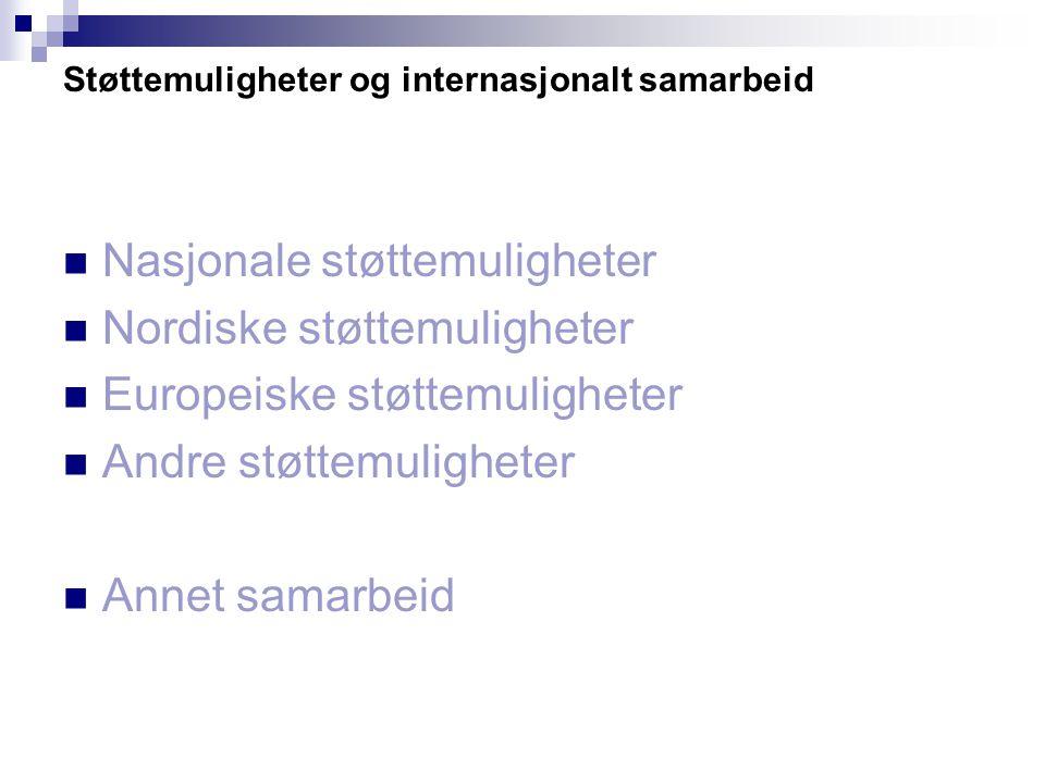 Støttemuligheter og internasjonalt samarbeid Nasjonale støttemuligheter Nordiske støttemuligheter Europeiske støttemuligheter Andre støttemuligheter Annet samarbeid