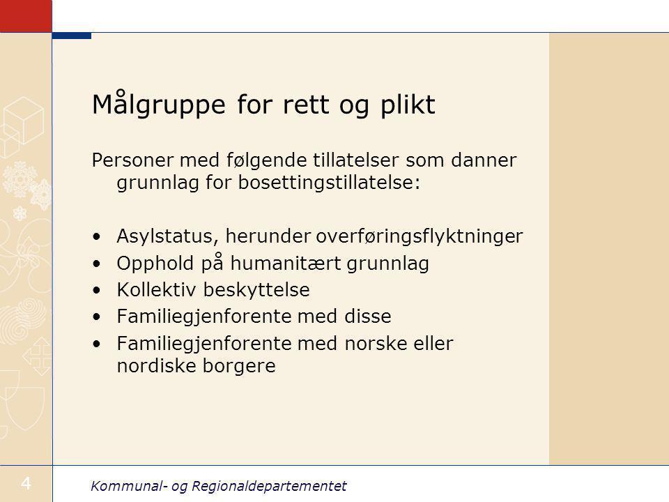 Kommunal- og Regionaldepartementet 4 Målgruppe for rett og plikt Personer med følgende tillatelser som danner grunnlag for bosettingstillatelse: Asylstatus, herunder overføringsflyktninger Opphold på humanitært grunnlag Kollektiv beskyttelse Familiegjenforente med disse Familiegjenforente med norske eller nordiske borgere