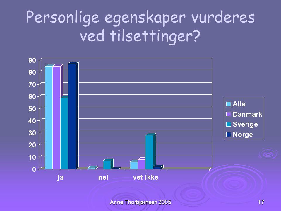Anne Thorbjørnsen 200517 Personlige egenskaper vurderes ved tilsettinger?