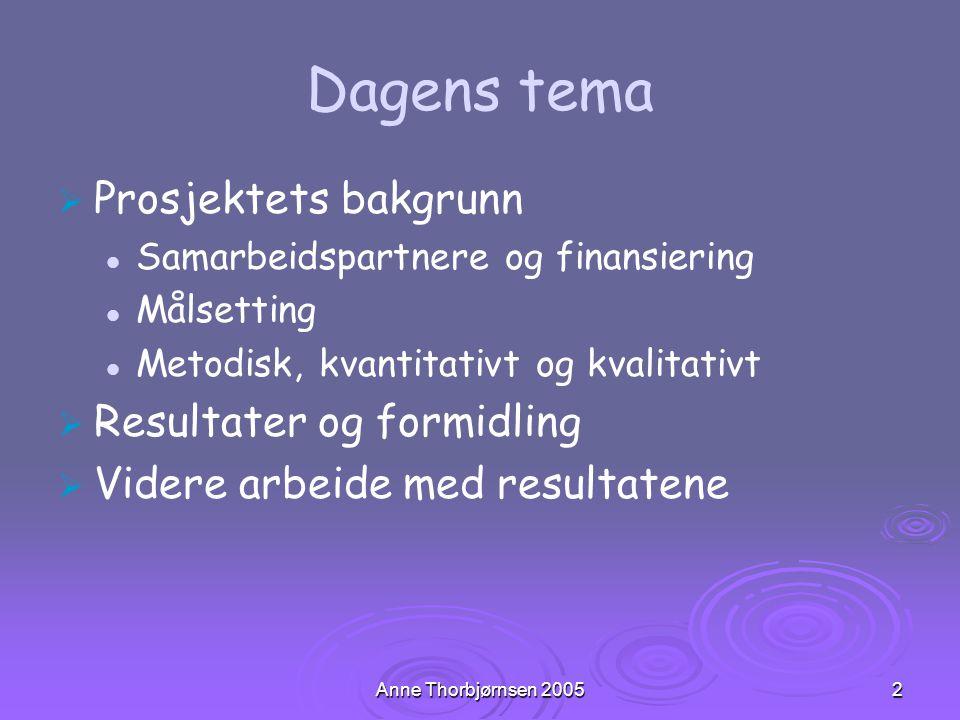 Anne Thorbjørnsen 20052 Dagens tema   Prosjektets bakgrunn Samarbeidspartnere og finansiering Målsetting Metodisk, kvantitativt og kvalitativt   R