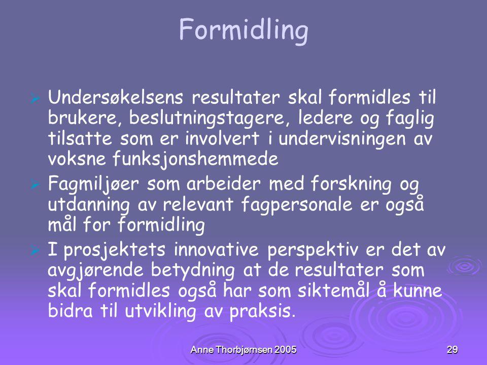 Anne Thorbjørnsen 200529 Formidling   Undersøkelsens resultater skal formidles til brukere, beslutningstagere, ledere og faglig tilsatte som er invo