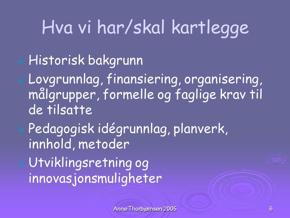 Anne Thorbjørnsen 20056 Hva vi har/skal kartlegge   Historisk bakgrunn   Lovgrunnlag, finansiering, organisering, målgrupper, formelle og faglige
