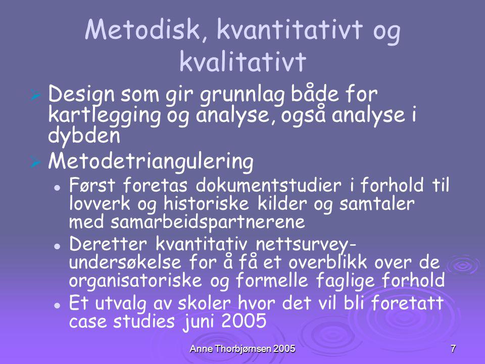Anne Thorbjørnsen 20057 Metodisk, kvantitativt og kvalitativt   Design som gir grunnlag både for kartlegging og analyse, også analyse i dybden   M