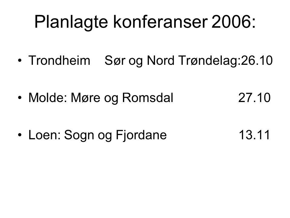 Planlagte konferanser 2006: TrondheimSør og Nord Trøndelag:26.10 Molde: Møre og Romsdal 27.10 Loen: Sogn og Fjordane 13.11
