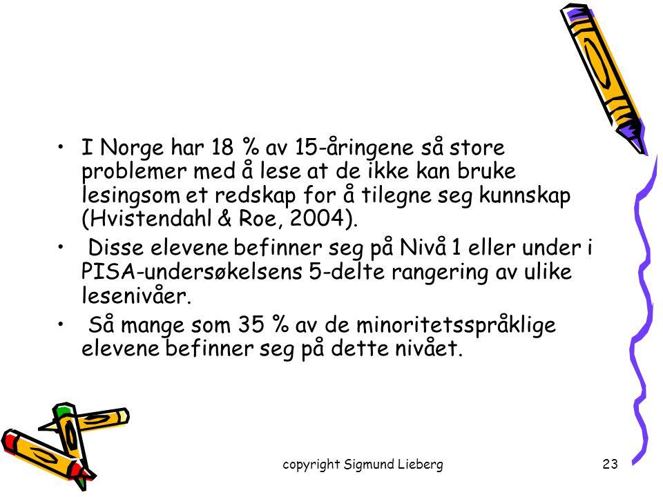copyright Sigmund Lieberg23 I Norge har 18 % av 15-åringene så store problemer med å lese at de ikke kan bruke lesingsom et redskap for å tilegne seg