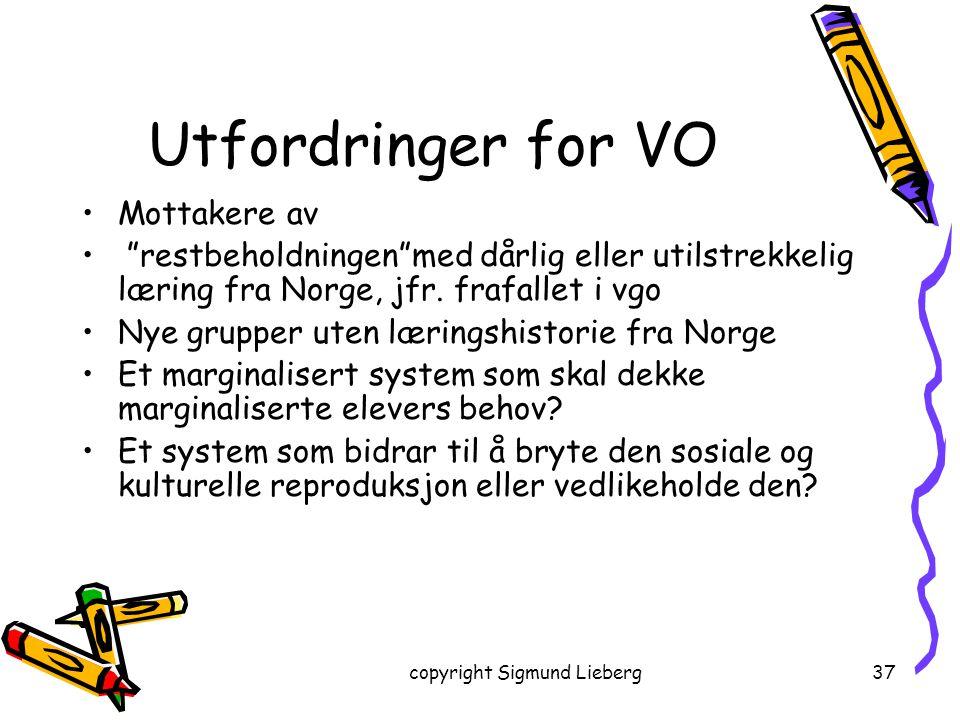 """copyright Sigmund Lieberg37 Utfordringer for VO Mottakere av """"restbeholdningen""""med dårlig eller utilstrekkelig læring fra Norge, jfr. frafallet i vgo"""