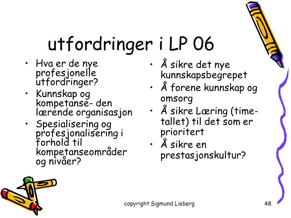 copyright Sigmund Lieberg48 utfordringer i LP 06 Hva er de nye profesjonelle utfordringer? Kunnskap og kompetanse- den lærende organisasjon Spesialise