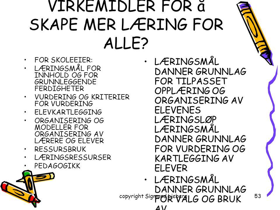 copyright Sigmund Lieberg53 HVA ER SKOLENS VIRKEMIDLER FOR å SKAPE MER LÆRING FOR ALLE? FOR SKOLEEIER: LÆRINGSMÅL FOR INNHOLD OG FOR GRUNNLEGGENDE FER