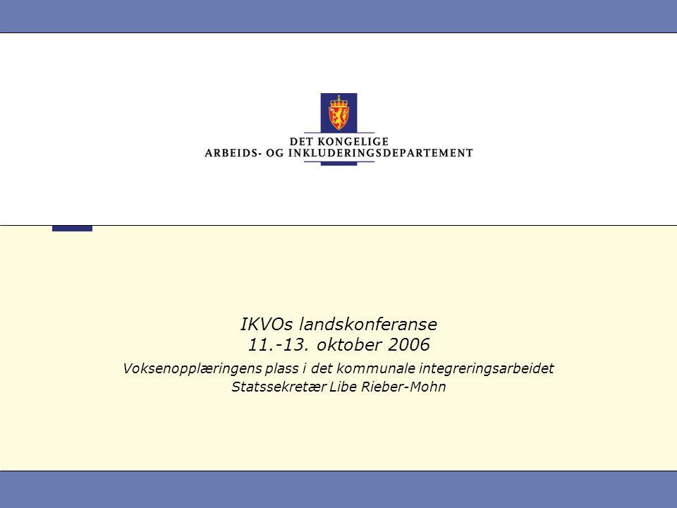 IKVOs landskonferanse 11.-13. oktober 2006 Voksenopplæringens plass i det kommunale integreringsarbeidet Statssekretær Libe Rieber-Mohn