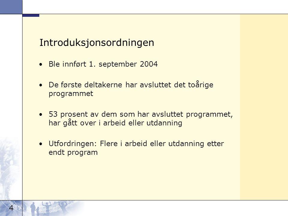 4 Introduksjonsordningen Ble innført 1. september 2004 De første deltakerne har avsluttet det toårige programmet 53 prosent av dem som har avsluttet p