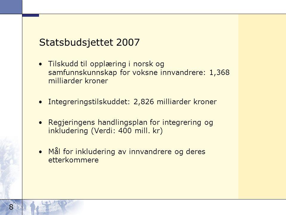 8 Statsbudsjettet 2007 Tilskudd til opplæring i norsk og samfunnskunnskap for voksne innvandrere: 1,368 milliarder kroner Integreringstilskuddet: 2,82